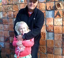 My Brother Robert and his daughter Olivia near Earth Wall by Anthea  Slade