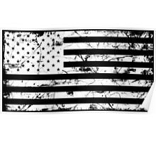 American Flag - Distressed (White)  Poster