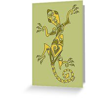 Lizard Tattoo Yellow Greeting Card
