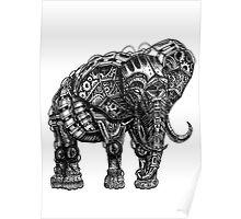 Mechanical Elephant steampunk animal vintage retro art Poster