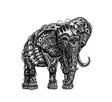 Mechanical Elephant steampunk animal vintage retro art Photographic Print