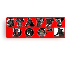 Staffy Dogs Pics in Logo Canvas Print
