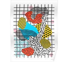 Wig Out - memphis style shapes retro pop art pattern dots stripes squiggles 1980's 80s 80's style grid Poster