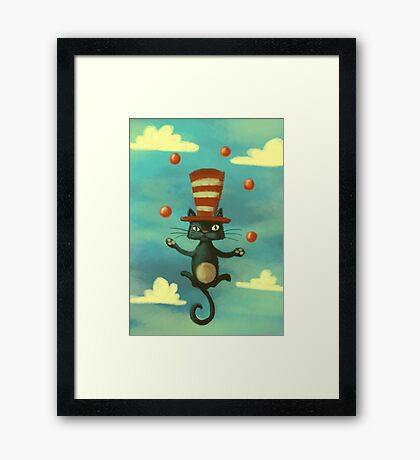 the cat in the hat Framed Print