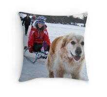Makeshift Dogsled Throw Pillow