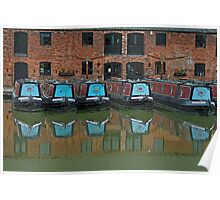 Canal Boat Reflections Poster