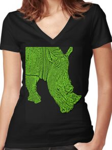 Groovy green rhino Women's Fitted V-Neck T-Shirt