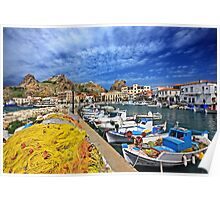 The fishing port of Myrina - Lemnos island Poster