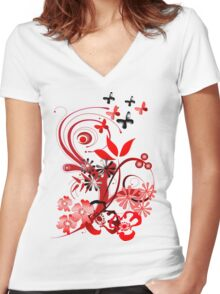 Floral tee with butterflies Women's Fitted V-Neck T-Shirt