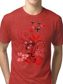 Floral tee with butterflies Tri-blend T-Shirt