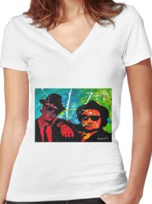 Blues Brother in full color Women's Fitted V-Neck T-Shirt