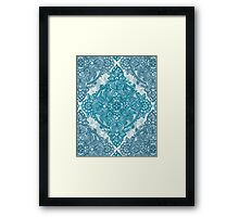 Teal & White Lace Pencil Doodle Framed Print