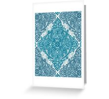 Teal & White Lace Pencil Doodle Greeting Card