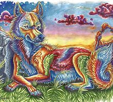 Sunset Coyote by Lizzeh