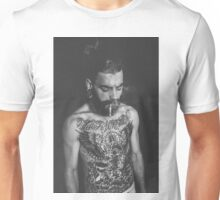 Beard Tattoo Male Portrait - Smoke Unisex T-Shirt