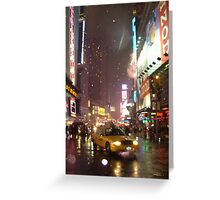 Times Square Taxi on a snowy night Greeting Card