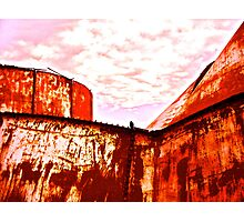 Collapsing Oil Storage Tanks, South Texas Photographic Print