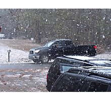 Are Black Vehicles a Requirement for Driving in Snow? Photographic Print