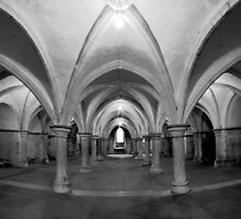 The Crypt - Rochester Cathedral - HDR b/w by Dave Godden