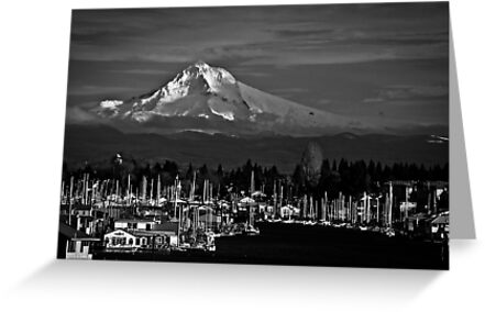 Mt. Hood Over Hayden Island 01 by RIDGEWORKS