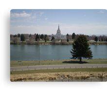 Mormon Temple - Idaho Falls Green Belt Canvas Print