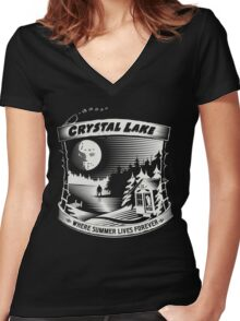 Camp Crystal Lake: Where Summer Lives Forever Women's Fitted V-Neck T-Shirt