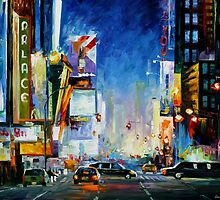 BROADWAY NEW YORK - Original Art Oil Painting By Leonid  AFREMOV by Leonid  Afremov