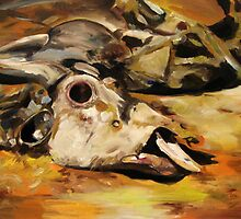 Wildebeest Carcass: Oil Painting by Caroline  Gates
