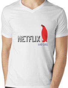 Netflix and Chill Cool Penguin funny T-shirt Mens V-Neck T-Shirt