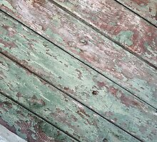 Detail of an old  diagonal wooden fence by vladromensky