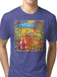Fanciful Feline and Flowers Tri-blend T-Shirt