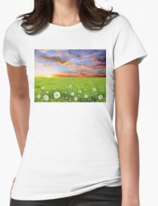 Margarite Field at Sunset in Bulgaria Womens Fitted T-Shirt