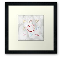 An apple and seven hats Framed Print