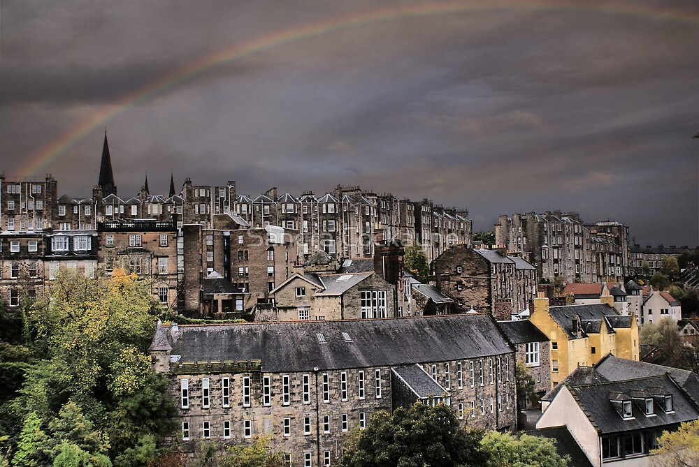 Rainbow Over Dean Village, Edinburgh by Sandra Cockayne