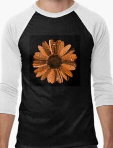 Orange flower with water drops Men's Baseball ¾ T-Shirt