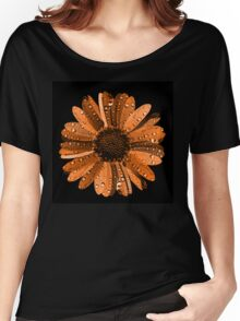 Orange flower with water drops Women's Relaxed Fit T-Shirt