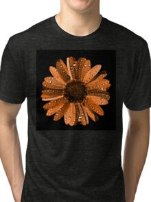 Orange flower with water drops Tri-blend T-Shirt