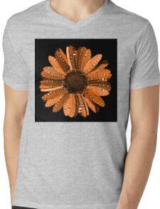 Orange flower with water drops Mens V-Neck T-Shirt