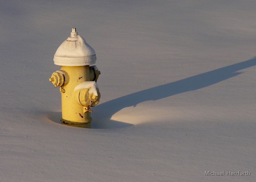 Yellow Hydrant in Snow by Michael  Herrfurth