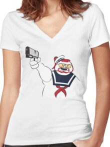 Over the Puft Line! Women's Fitted V-Neck T-Shirt
