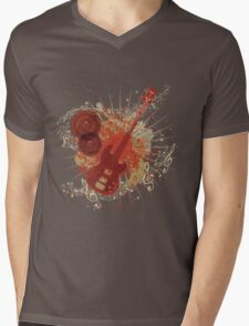 Music Poster with Guitar 6 Mens V-Neck T-Shirt