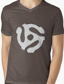 Cool retro vintage chrome 45 spacer dj print geek funny nerd Mens V-Neck T-Shirt
