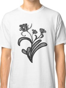 Stylized Botanical Drawing Tulip White Background Classic T-Shirt