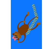 Cute little girl monkey swinging on a vine geek funny nerd Photographic Print