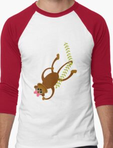 Cute little girl monkey swinging on a vine geek funny nerd Men's Baseball ¾ T-Shirt