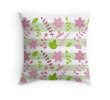 Pink and Green Floral Design Throw Pillow