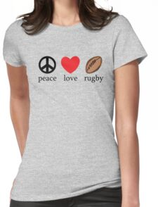 """Rugby """"Peace Love Rugby"""" Womens Fitted T-Shirt"""