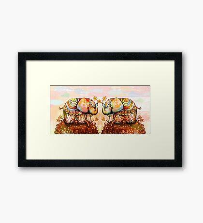 true happiness elephants Framed Print