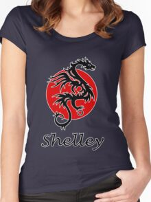 Dragon sun black red white geek funny nerd Women's Fitted Scoop T-Shirt