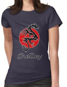 Dragon sun black red white geek funny nerd Womens Fitted T-Shirt